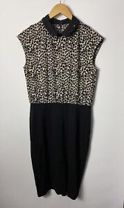 NEXT Ladies Dress Size 12 Black Animal Print Collar Studs Party Evening