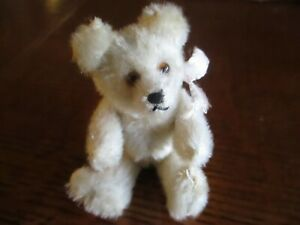 "4"" Antique Fully Jointed White Mohair Teddy Bear Ca. 1930's"