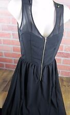 San Souci brand BLACK DRESS hi lo hem SMALL EUC lightweight zipper cutout back