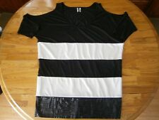 KENNETH COLE STRIPE TOP W/SEQUINED BOTTOM, NAKED SHOULDER SLEEVES SIZE MEDIUM