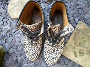 DOC DR MARTENS WHITE TOPOS BOOTS PONY HAIR REAL FUR ANIMAL POLKA DOT LEOPARD 8UK