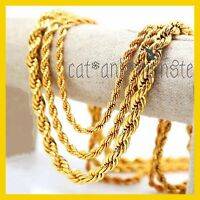9K PLAIN GOLD FILLED SOLID MENS WOMENS TWIST ROPE CHAIN LONG SOLID NECKLACE GIFT