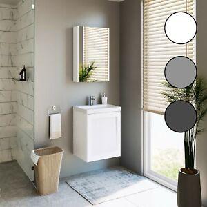Planetmöbel Badmöbel Set 50cm Gäste WC Waschbecken Unterschrank Spiegelschrank