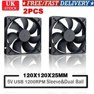 2PCS 12cm DC 5V USB Cooler Black Silent Cooling Fan For Desktop PC Computer Case