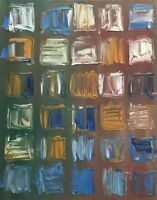 Vintage Abstract Squares Shapes Oil Painting Modern Art Wall Hanging Mid Century