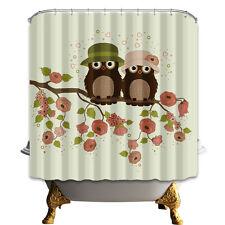 Two cute owls Bedroom Decor Shower Curtain waterproof Fabric & 12hooks 71*71in