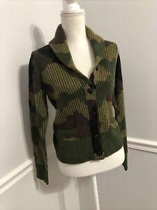 Denim & Supply Women's Sweater Sz M Green Camo Camouflage Cardigan Ralph Lauren