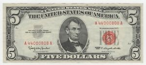 1963 SERIES - FIVE DOLLAR SILVER CERTIFICATE - RED SEAL- LOW # A 44000808 A