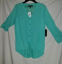 NWT YOUNIQUE WOMENS MINT GREEN BUTTON  TIE  WAIST BLOUSE RTL  $20