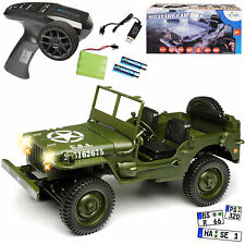 JEEP WILLYS CAMION VERT USA Army 2. guerre mondiale 2,4 GHz RC funkauto avec éclairage