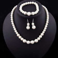 Jewelry & Watches Sp Swarovski Elements White Pearl Crystal Bridal Single Vine Necklace Set Clearance Price Bridal Jewelry