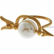 Cráneo de Alexander McQueen Grande perla anillo Sz L-en Caja & Auténtico