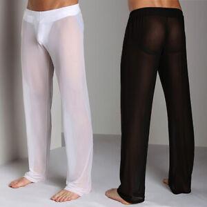 Men's Sheer See Through Mesh Underwear Sports Fitness Long Johns Pants Leggings