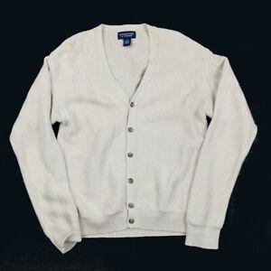 Grandpa Style Beige Herringbone Pattern Cardigan Sweater Indie Hipster Retro M