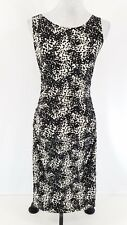 Norma Kamali Dress Medium Black Cream Printed Sleeveless Ruched Sheath Stretch M
