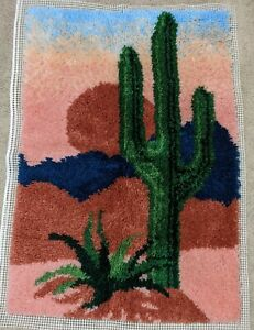 Completed Desert Sun Latch Hook Wall Hanging 40 X 28 Saguaro Cactus Finished