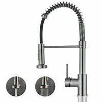 Commercial Spring Kitchen Sink Faucet Pull Down Sprayer Single Handle Mixer Taps