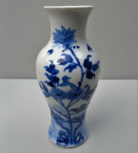Chinese Kangxi blue & white baluster vase painted birds and flowers C17th/18th