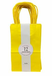 """Solid Colored Kraft Party Bags - Pack of 12 - Yellow - 5"""" X 8"""""""