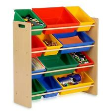 Childrens Kids Bedroom Storage Shelf Rack Unit & Plastic Boxes Tubs Bins Toys