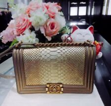 100% AUTHENTIC CHANEL LIMITED EDITION Le Boy Metallic GOLD Python