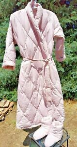Pink Down Robe & Matching Booties/Slippers Set-THE COMPANY STORE Large-XLarge