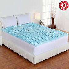 """Cooling Gel Foam Mattress 2"""" QUEEN SIZE Topper 5 Zone Bed Pad Cushion Orthopedic"""