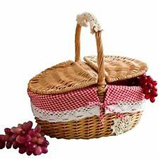 Hand Made Wicker Picnic Basket Camping Shopping Hamper Handle Storage Baskets