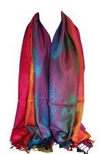 Peacock Feather Print Rainbow Colours Large Pashmina Feel Wrap Scarf Shawl Hijab