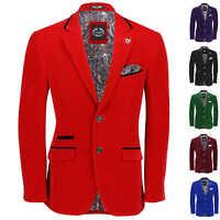 Mens Vintage Soft Velvet Blazer Tailored Fit Smart Casual Black Trim Jacket