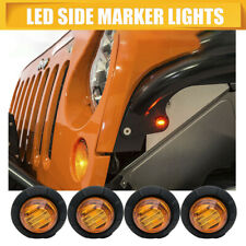 "4X 3/4"" Amber Yellow 12V Round Bullet Side Marker Truck Trailer Mini LED Lights"