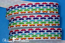 "5 yards 7/8"" Colorful Mustache Printed Grosgrain Ribbon"