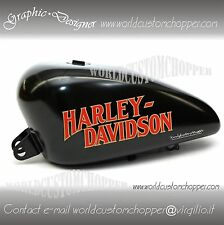 2 ADESIVI DECAL STICKERS  HARLEY DAVIDSON STILE RETRO' X SERBATOIO MOTO CUSTOM