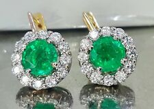 14k white yellow gold Colombian emerald earrings 4.04CT round  shape