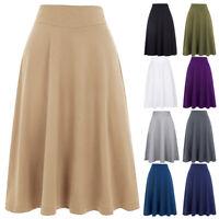 KK Women's Knee-Length High Stretchy Soft Cotton High Waist A-line Flared Skirt