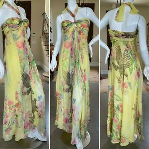 Class Cavalli Charming Yellow Vintage Pheasant Print Chiffon Dress