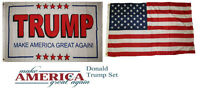 3x5 Donald Trump White #2 & USA American Wholesale Flag Set 3'x5'