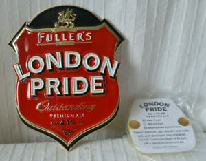 Metal Fullers London Pride Beer Real Ale Chunky 3D pub hand pull badge clip sign