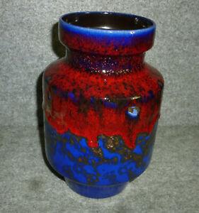 70er Keramik Vase - FAT LAVA Tischvase 20 cm - 108-20 Germany Blau Rot Braun TOP