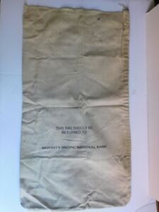 Vintage SECURITY PACIFIC NATIONAL BANK CANVAS MONEY BAG