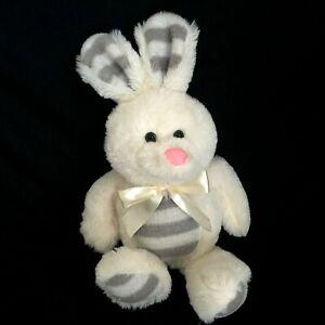 "Dan Dee Plush Bunny Rabbit Soft Stuffed Animal White Gray Stripe Pink Nose 14"""