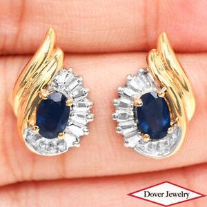 Estate 0.90ct Sapphire 14K Gold Two Tone Elegant Earrings NR