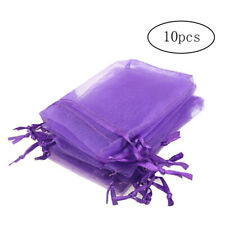 10Pcs Organza Material Drawstring Pouches Stuff Jewelry Gift Bags Purple 7*9CM