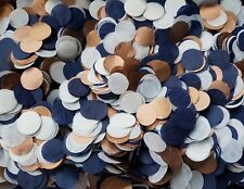 2 HANDFULS COPPER WHITE & NAVY BLUE CIRCLE WEDDING THROWING CONFETTI.DECORATION