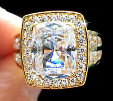 3 ct Radiant Halo Deco Ring Top CZ Imitation Moissanite 14 kt Gold Over SS 7