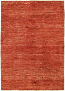5X7 Hand-Knotted Gabbeh Carpet Modern Red Fine Wool Area Rug D43445
