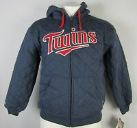 Minnesota Twins MLB Stitches Men's Quilted Navy Blue Full-Zip Hooded Jacket