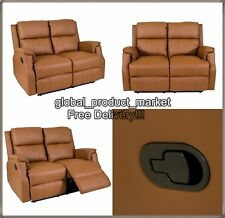 LUXURY Cinema Sofa 2 Seater Brown Settee Vintage TV Couch Home Recliner Seat NEW