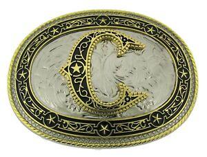 Initial Letter C Belt Buckle Western Rodeo Texas Style Big New Aztec Design Men
