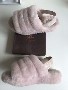 Genuine Ugg Slippers Fluff Yeah Pink UK Size 4 Womens Ladies Sliders Sandals Boo